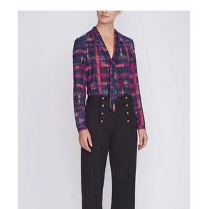 nanette lepore - nwt silk plaid printed blouse